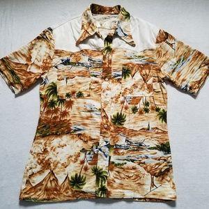 Otaheite vintage Hawaiian shirt vulcano boats XL